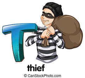 ladrão, letra, t