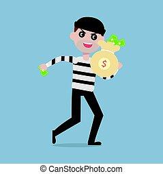 ladrão, roubar, dinheiro, dinheiro, personagem, assaltante, ilustração, afastado, saco, vetorial, caricatura, executando, conceito
