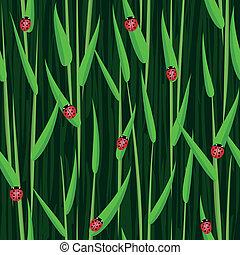 ladybird, capim, seamless, fundo
