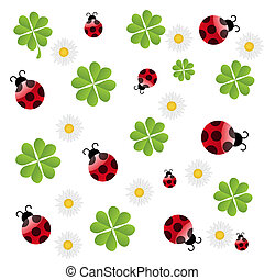 ladybird, vetorial, padrão, trevo, seamless, folha