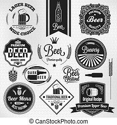 lager, jogo, cerveja, etiquetas, vindima