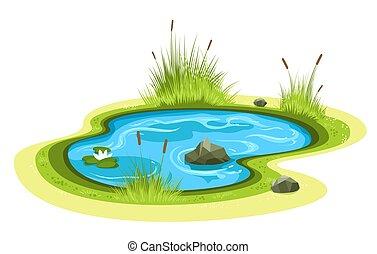 lagoa, caricatura, jardim
