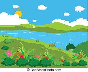 lagoa, fundo, paisagem