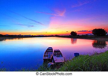 lagoa, pôr do sol, sobre