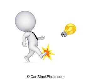 lamp., chutando, pessoa, amarela, 3d, pequeno