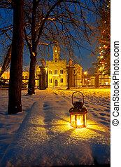 lanterna, parque, noturna