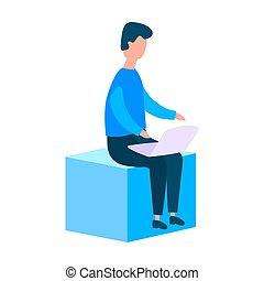 laptop, apartamento, trabalhador, sentando, cube., estilo, escritório