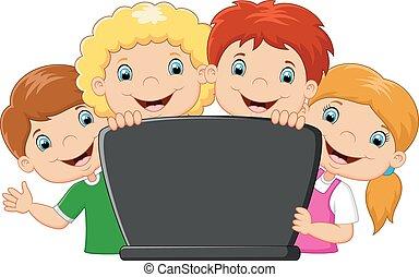 laptop, caricatura, família, feliz