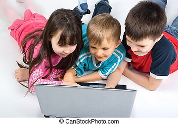 laptop, crianças