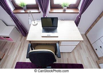 laptop, escrivaninha