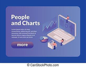 laptop, gráficos, mais, botão, pessoas
