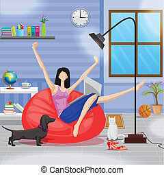laptop, mulher, sofá, trabalhando, sentando