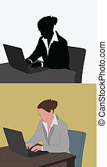 laptop, mulher, trabalhando, dela