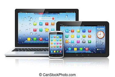 laptop, pc tabela, smartphone