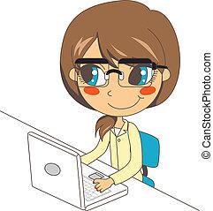laptop, trabalhando, secretária