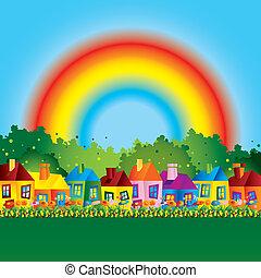 lar, caricatura, família, arco íris