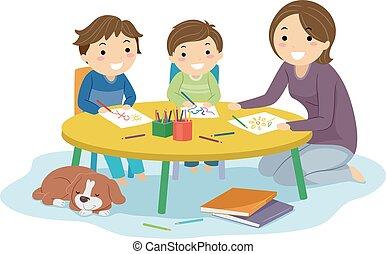lar, ilustração, stickman, crianças, escola, desenhar, meninos