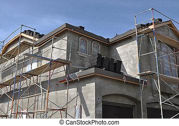 lar, novo, construção, estuque, sob