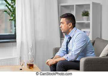 lar, uísque, garrafa bebendo, alcoólico