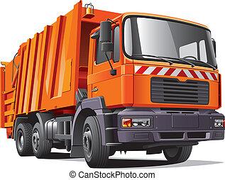 laranja, caminhão, lixo