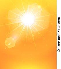 laranja, cartaz, sol, fundo