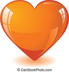 laranja, coração, brilhar