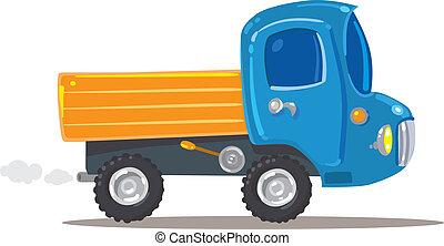 laranja, engraçado, azul, caminhão