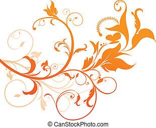 laranja, floral, abstratos
