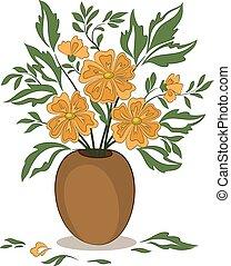 laranja floresce, vaso