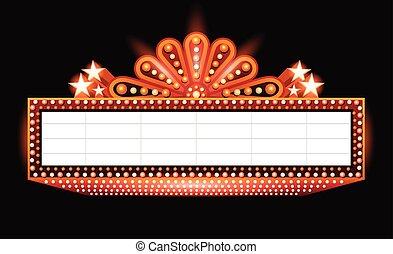 laranja, glowing, cinema, brilhantemente, sinal, teatro, retro, néon