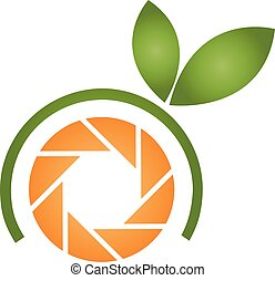laranja, logotipo, fotografia
