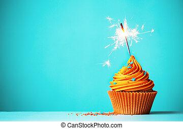 laranja, sparkler, cupcake