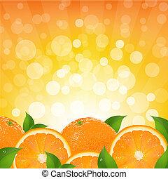 laranja, sunburst, fundo