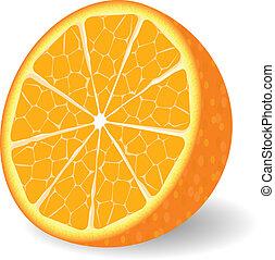 laranja, vetorial, fruta