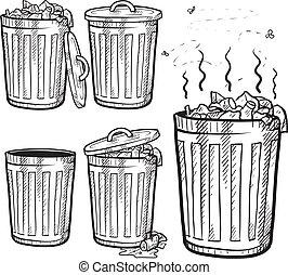 latas lixo, esboço