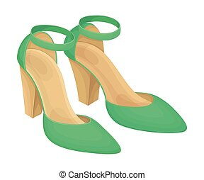 latchet, par, alto, isolado, sapatos, verde, vetorial, ilustração, heeled, fundo branco
