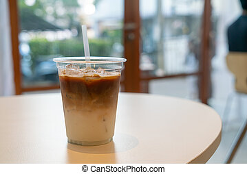 latte, café, iced, copo