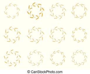 laurel, branca, set., grinalda, fundo, vetorial, flora, tema