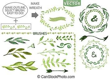 laurel, ramos, grinalda, set., floral, aquarela, escovas, vindima