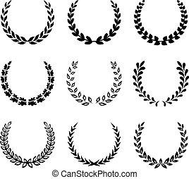 laurel, wreaths., jogo, pretas, 2.