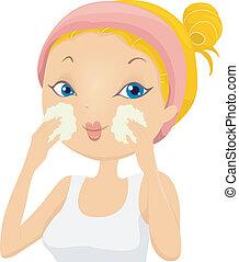 lavagem, menina, aplicando, facial