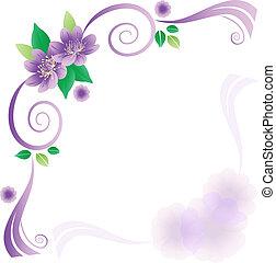 lavander, flores, cartão, casório
