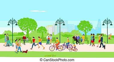lazer, parque cidade, illustration.eps, pessoas