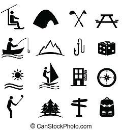 lazer, recreação, ícones esportes