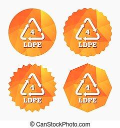 ld-pe, polyethylene., sinal, 4, low-density, icon.
