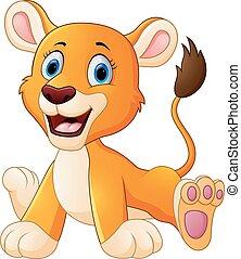 leão, caricatura, cute
