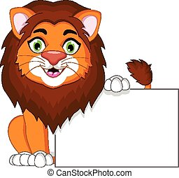 leão, em branco, caricatura, sinal