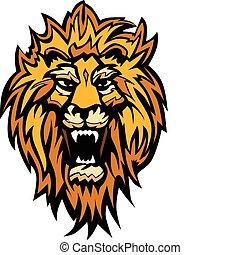 leão, gráfico, cabeça, mascote