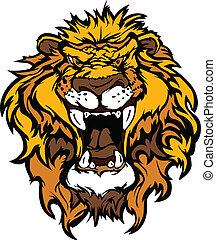 leão, illustrati, cabeça, caricatura, mascote