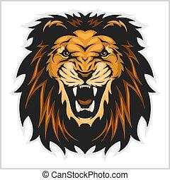 leão, ilustração, cabeça